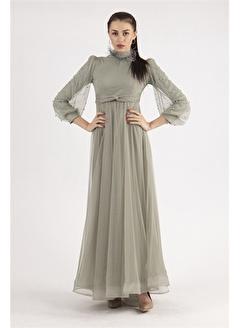 Belamore  Çağla Yakası Tüy Detaylı Abiye&Mezuniyet Elbisesi 1024305.332